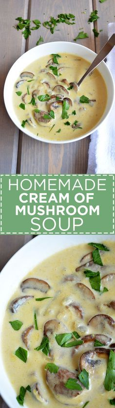 """Packed with earthy, savory mushroom flavor, this creamy soup makes a perfect substitute for canned cream of """"anything"""" soup!"""