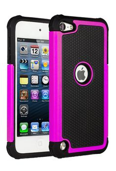 HHI Double Defender Silicone Shield Plate for iPod Touch 5th Generation - Black/Hot Pink