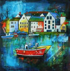 Harbour With Red Boat by Gillian Mowbray Principles Of Design, Elements Of Design, Art Fantaisiste, Boat Painting, Colourful Buildings, Funky Art, Folk, Naive Art, Art Of Living