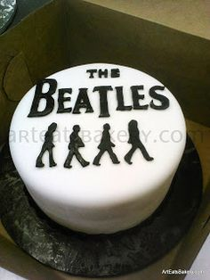 The Beatles black and white custom creative fondant Groom's cake design