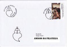 Sobrescrito circulado com carimbo 1.º dia da série de selos arte Joana Vasconcelos. Selo de 0,47€ colocado em circulação a 23 de fevereiro de 2012