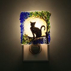 RECYCLED GLASS CAT NIGHT LIGHT