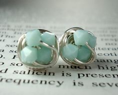 MInt Green / Mint alabaster - Petite Wire Wrapped Stud earrings - Mint Swarovski Crystal Bead and Silver wire Stud Earrings