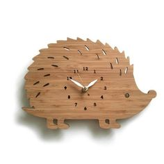 Laser cut wood hedgehog clock