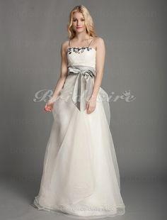 A-Linie Organza bodenlang Träger Brautkleid mit Perle Applikation - $119.99