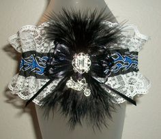 Blue and Black Flames White Lace Rhinestone Feathers Silver Motorcycle Harley Wedding Garter