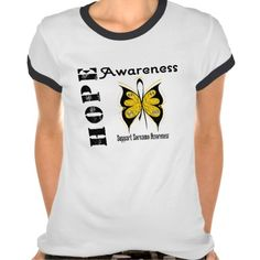 Sarcoma Hope Awareness  shirts and gifts with butterfly ribbon by www.giftsforawareness.com #sarcoma #sarcomaawareness