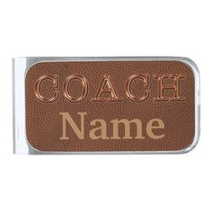 Silver Plated Money Clip. Personalized Football Coach Gift Ideas. Wonderful gifts for a football coach. CLICK HERE: http://www.zazzle.com/personalized_football_coach_gifts_ideas_money_clip-256077540020435198?rf=238147997806552929*  Type Name or Your Text into text box or Delete the temporary text. Cool gift ideas for football coaches Memory that will last forever.  Our Zazzle football shop Link HERE: http://www.zazzle.com/littlelindapinda/gifts?cg=196532339247083789&rf=238147997806552929*