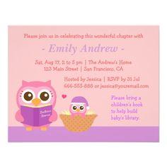 Book Themed, Owl Baby Girl Shower Invitations Custom Invitations