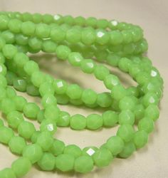 6mm Czech Glass Beads - Faceted Round Fire Polished - Opal Green Mantis - 1468 - 30 Beads