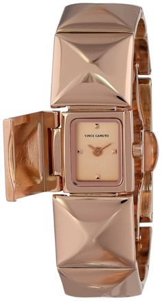 Vince Camuto Women's VC/5058RGRG Rose Gold-Tone Pyramid Covered Dial Bracelet Watch