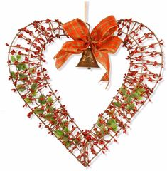 Berry Vines Valentine Heart with Big Red Tartan Ribbon Bow Wall Decor 16 Inch Valentine Day Wreaths, Valentines Day Decorations, Valentine Heart, Valentine Crafts, Christmas Wreaths, Saint Valentine, Valentine Ideas, Christmas Ideas, Heart Wall Decor