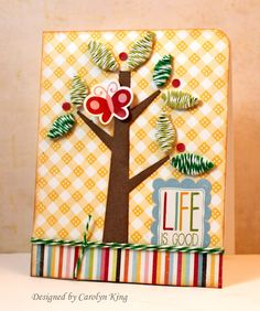 An adorable card using twine for the leaves from @The Twinery