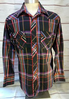 Vintage 80s 90s Wicked Blue White  Plaid Lined Shoulders XL Shirt