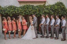 46 Elegant Grey And Coral Wedding Ideas | HappyWedd.com  different bridesmaid dresses :)