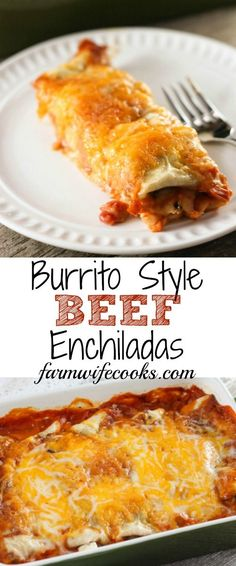 An easy Burrito Style Beef Enchilada recipe that will have. An easy Burrito Style Beef Enchilada recipe that will have everyone you make them for asking for the recipe! Top Recipes, Great Recipes, Cooking Recipes, Favorite Recipes, Easy Beef Recipes, Beef Recipes For Dinner, Simple Recipes, Lunch Recipes, Authentic Mexican Recipes