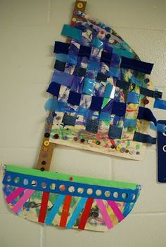 painted paper, weaving and patterns Paper Weaving, Weaving Art, Weaving Projects, Art Projects, Weaving For Kids, 4th Grade Art, Art Lessons Elementary, Preschool Art, Painted Paper