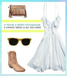 @Who What Wear - If you fancy yourself a preppy festivalgoer, aswingy dress($98),fringe bag($98),classic sunglasses, and a red lip are all you need.