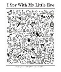 JSIM I Spy Fun sheet, a free pdf you can print, to just kill time, color, teach words, teach kids to describe or use as intended