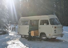 VW bus Snow day Heating up Thanksgiving leftovers in the mountains of Oregon.