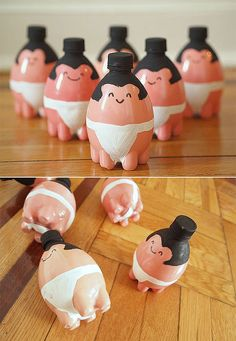 DIY Tiny Sumo Wrestler Bowling Pins for Kids, made from recycled plastic bottles - too cute!