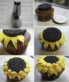 Sunflower Cupcakes with Oreas (Repinned)
