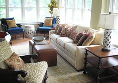We just love this beautiful sun room designed by our design pro Jill, of Woodmere, OH. She blended textures and patterns to create an eclectically chic Moroccan feel. We can see ourselves getting quite cozy in here on a lazy Sunday afternoon :)