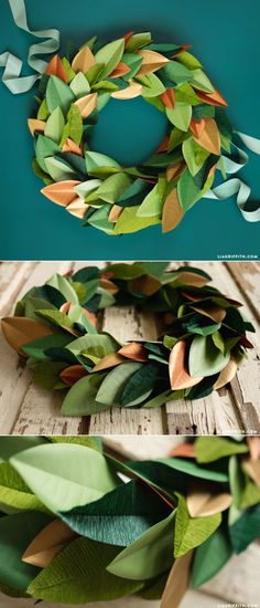 Gorgeous Magnolia Wreath with crepe and metallic paper. Pattern and tutorial at www.LiaGriffith.com #diywreath