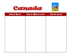 A blank KWL (Know, Want to Know, Learned)chart for starting a unit on Canada.  I like to have the kids put in their own ideas (Tell me everything you know about ____ in 1 minute) and then we add to that as we share ideas. We continue to add to the chart as the unit progresses.  Can be done individually or as a cooperative group activity. All About Canada, Social Studies Resources, Group Activities, Grade 2, Ell, Teacher Newsletter, Teacher Pay Teachers, School Stuff, Bar Chart