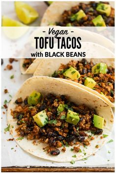 Quick and easy Tofu Tacos with black beans. Crispy, lightly spicy, and delicious… Quick and easy Tofu Tacos with black beans. Crispy, lightly spicy, and delicious! A high protein vegetarian meal that's ready in less than 30 minutes. via Well Plated High Protein Vegetarian Recipes, Veggie Recipes, Healthy Recipes, Quick Vegetarian Meals, Healthy Protein, Recipes For Tofu, Protein For Vegetarians, Tofu Protein, Easy High Protein Meals