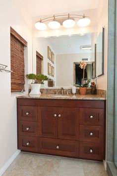 Bathroom With Double Brown Cabinet With Towel Bar White Top Sink - Bright bath towels for small bathroom ideas