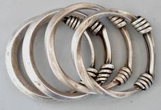 Group of Miao or Dong bangles silver lt 19th early 20th c (private collection Linda Pastorino)