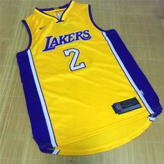 e79ee743e42 Mens Los Angeles Lakers Lonzo Ball Yellow Swingman Sewn New Jersey S 2XL
