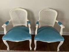 Painted French Style Caned Chairs - a Pair | Chairish Blue Furniture, Painted Furniture, Bergere Chair, Armchair, French Style Chairs, Peacock Chair, Chair Makeover, Chairs For Sale, Bedroom Styles