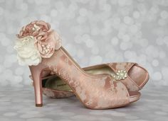 Antique Pink Platform Peep Toe Custom Wedding Shoes with Lace Overlay and Handmade Trio of Antique Pink, Capri Pink and Ivory Flowers on the Ankle