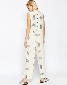 Image 2 ofASOS WHITE Silk Wide Leg Jumpsuit In Rope Print