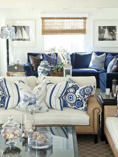 Navy Blue Living Room Decor Navy Blue and White Living Room Decor Blue Rooms, White Rooms, White Bedroom, White Walls, White Family Rooms, Blue Walls, Coastal Living Rooms, Home And Living, Coastal Cottage