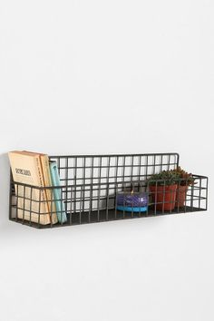 Grid Wall Bin - contemporary - wall shelves - - by Urban Outfitters Wire Shelving, Wall Shelves, Plant Shelves, Party Fiesta, Apartment Essentials, Apartment Ideas, Wire Baskets, Wire Wall Basket, Hanging Basket