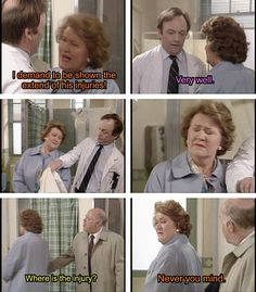 Keeping Up Appearances. Hyacinth, Richard, Daddy. I demand to be shown the extent of his injuries! Very well. Where is the injury? Never you mind.