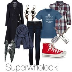 Supernatural, Doctor Who, and Sherlock inspired outfit. I love ever single thing about this!!!