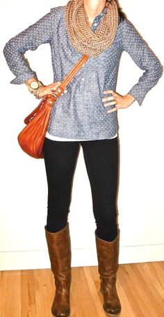 Cute and simple date night look. Lucky shirt, black leggings/jeans, brown boots