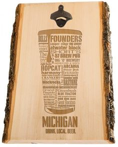 MICHIGAN Beer Typography Bottle Opener engraved in Wood. Laser Engraved Custom. Mens gift Ideas. Best man gift. Man Cave. by DISTINKTTEES on Etsy