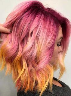 49 trendy ideas for hair color tendance inspiration Hair Color Highlights, Hair Color Dark, Cool Hair Color, Yellow Hair, Pink Hair, Love Hair, Gorgeous Hair, Pelo Multicolor, Sunset Hair