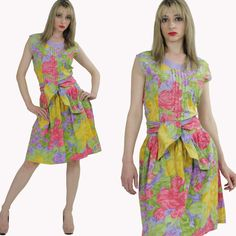 Vintage Abstract Floral Print Dress Retro by SHABBYBABEVINTAGE, $65.00