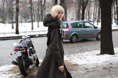 Elena Perminova wearing Ulyana Sergeenko coat again. Oh please another look at this again. #Alltheprettybirds