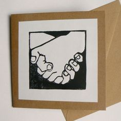 Holding hands hand printed linocut card