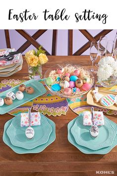 The kitchen table is the place where everyone gathers to celebrate Easter—make your table settings stand out in spring style. Featured product includes: Food Network dinnerware and serveware, mini flatware set and crystal champagne glass set; decorative bowl; Easter table runner; and spring print napkin set. Have a happy Easter with Kohl's.