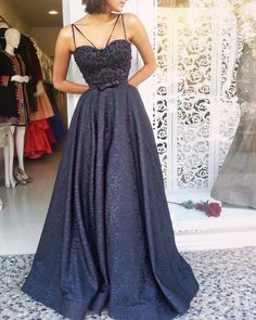 A-Line Spaghetti Straps Long Navy Blue Printed Satin Prom Dress with Beading Beautiful Prom Dresses, Elegant Dresses, Pretty Dresses, Formal Dresses, Navy Blue Prom Dresses, Homecoming Dresses, Ball Dresses, Ball Gowns, Mode Outfits