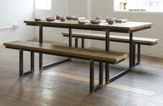 Such & Such reclaimed dining table & benches  http://www.suchandsuch.co/