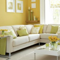 Want to incorporate yellow into our green and beige living room